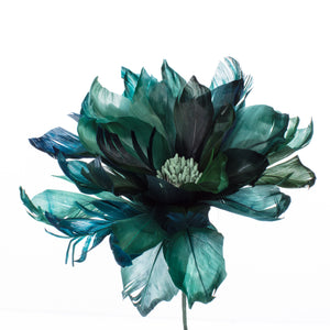 Millinery Supplies UK Teal Feather Dahlia