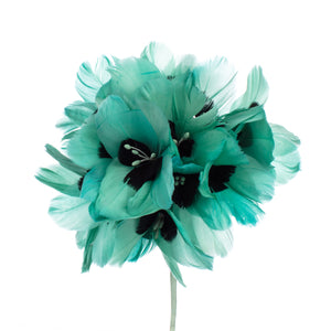 Millinery Supplies UK Jade / Navy Feather Hydrangea