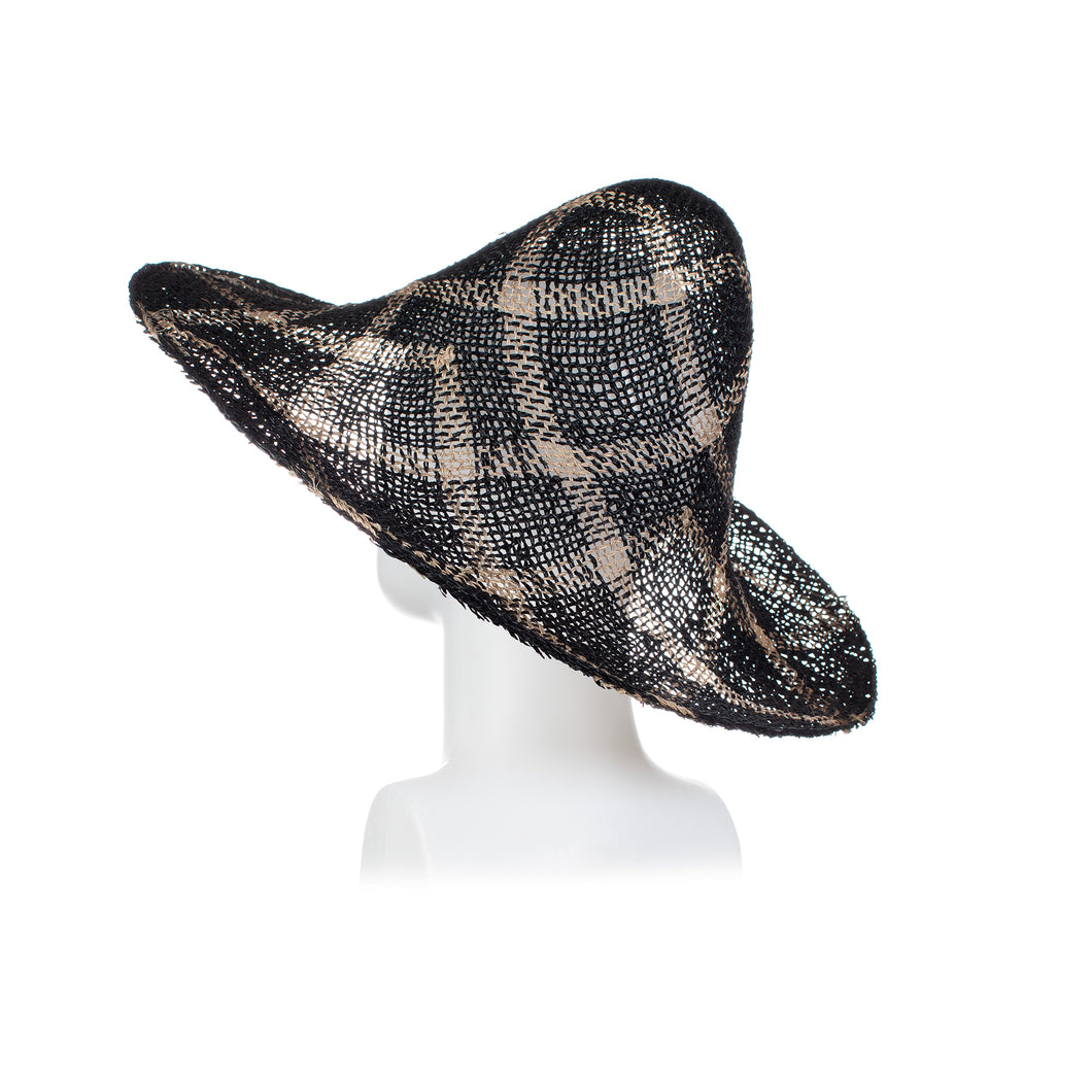 Millinery Supplies UK Twisted Seagrass Diamond Pattern Black Bleached