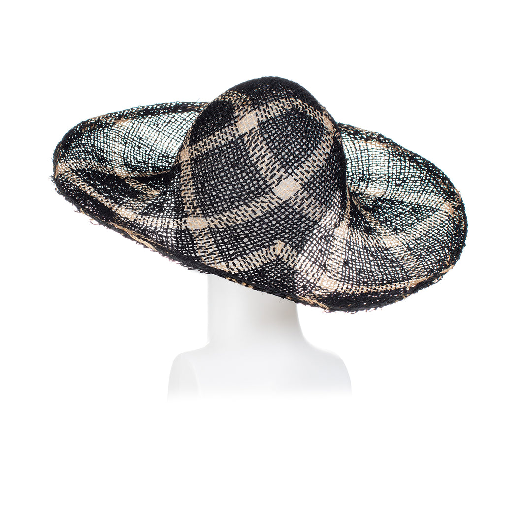 Millinery Supplies UK Twisted Seagrass Diamond Pattern Navy Bleached