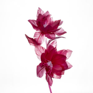 Millinery Supplies UK Cerise structured double dog rose on stem