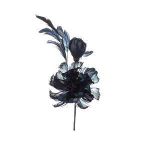 French Blue Feather Peony Millinery Supplies UK