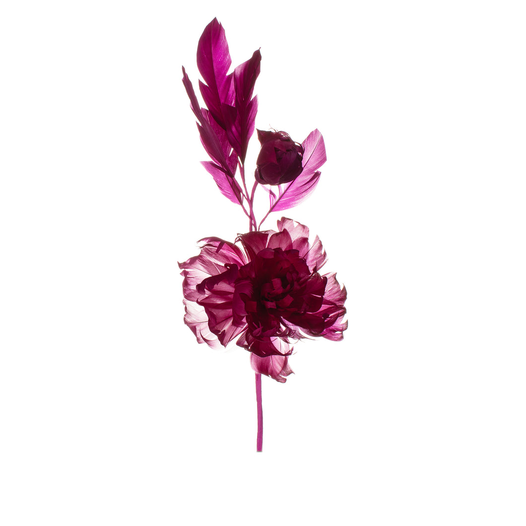 Fuschia Feather Peony Millinery Supplies UK