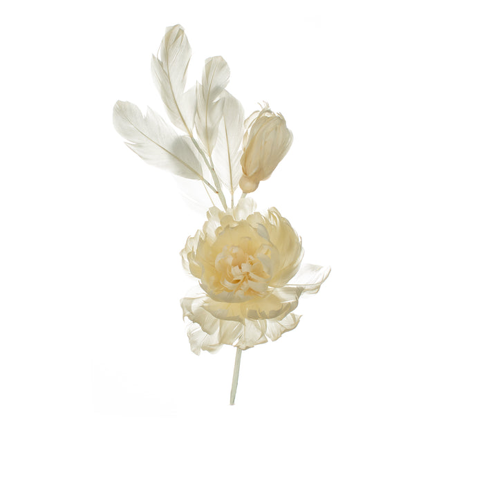 Lemon Feather Peony Millinery Supplies UK