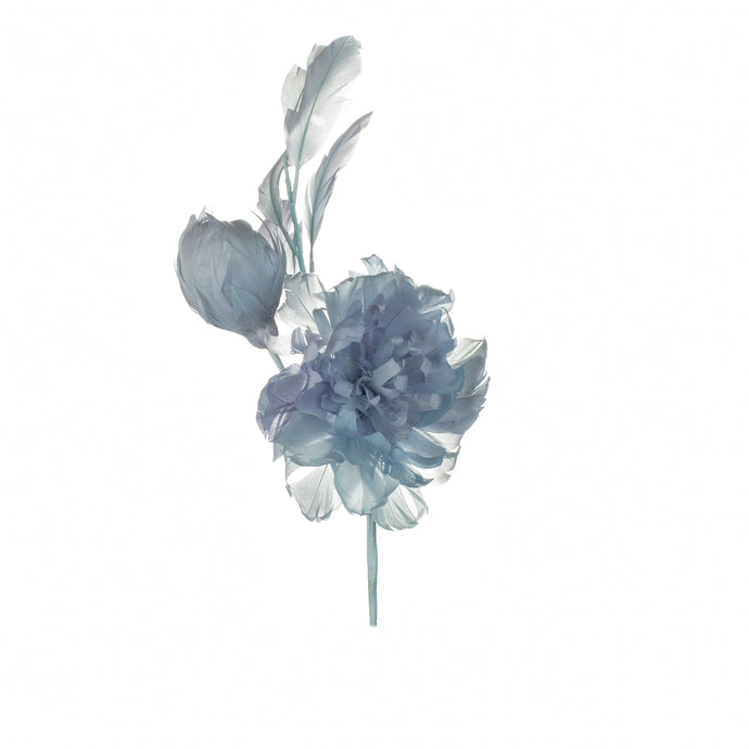 Light Blue Feather Peony Millinery Supplies UK