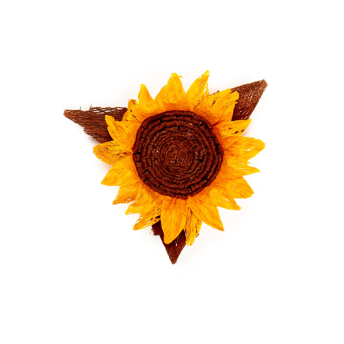 Millinery Supplies UK Orange sunflower made from bark
