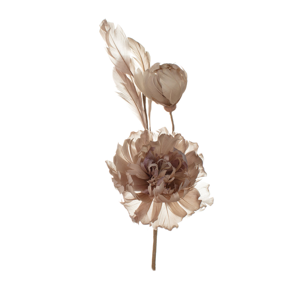 Sandstone Feather Peony Millinery Supplies UK