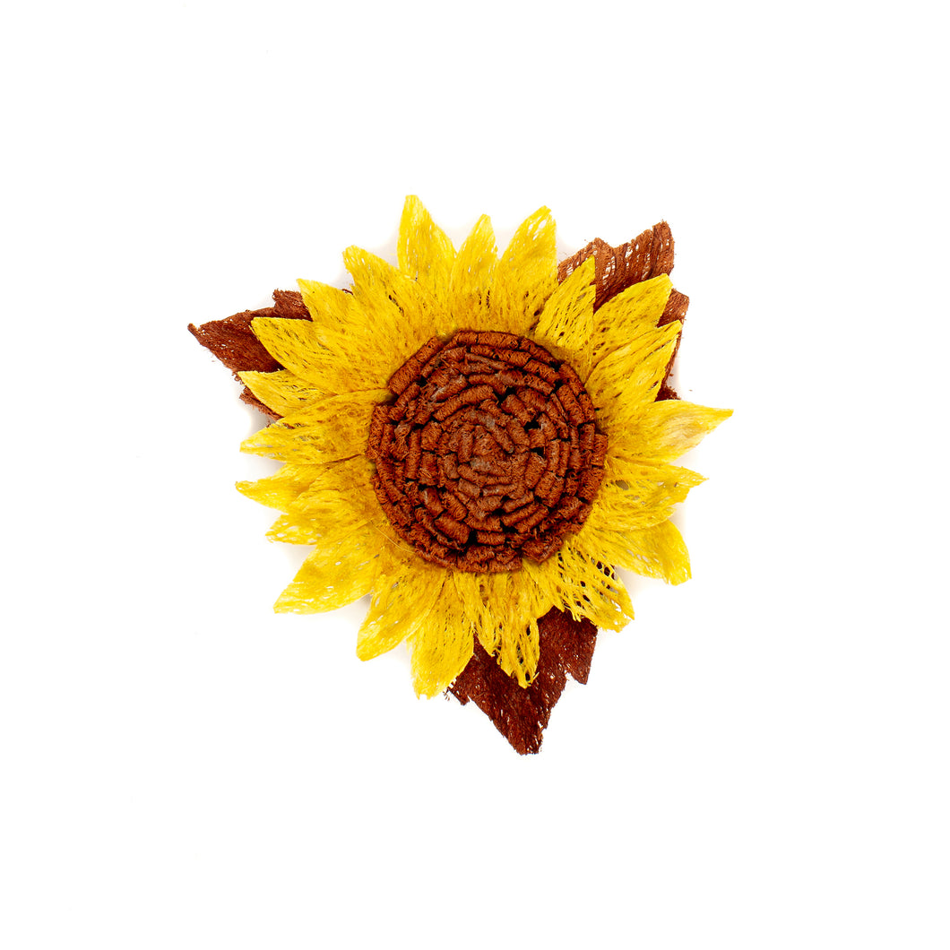 Millinery Supplies UK Yellow sunflower made from bark