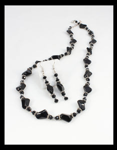 Black and Silver Necklace and Earrings