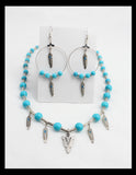 Turquoise and Silver Arrowhead Necklace Set