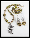 Three-Tailed Dragon Pendant on a Moss Green Necklace, with matching Earrings and Bracelet
