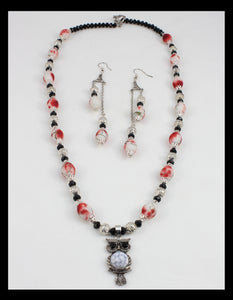 Coral, White and Black necklace features a Wise Ol' Owl pendant with matching earrings