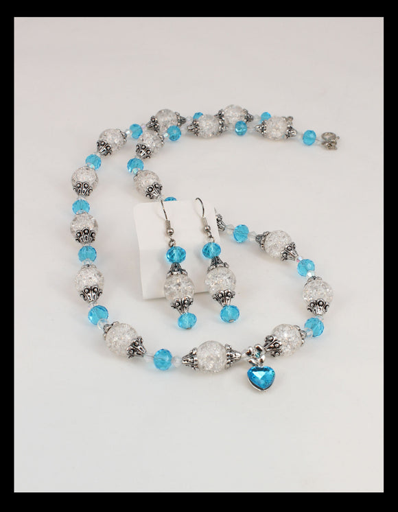 Crystal and Light Blue Necklace Set, with Blue Heart