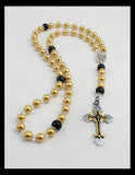 Rosary -- Gold Toned and Black with Eye-Catching Cross