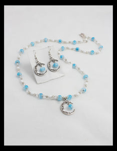 Blue Quarter Moon Necklace and Earring Set