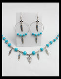 Turquoise and Silver Arrowhead Necklace and Earring Set
