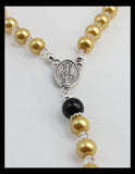 Rosary - Gold Toned and Black, with Eye-Catching Cross