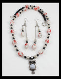 Wise Ol' Owl --Rose Colored and White Necklace and Earring Set