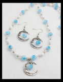 Blue Quarter Moon Necklace Set