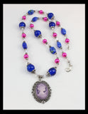 Lavender Cameo with Pink and Blue Marbled beads