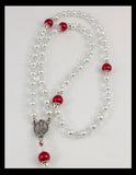 Rosary -- Stylish Red and Silver Cross
