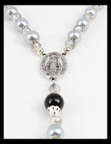 Rosary - Gray and Black beads with Stunning Silver and Black Cross