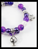 Purple Bracelet with Mottled Shades of Lavender and 4 Charms
