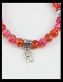 Peach and Rose Marbled Bracelet with Love Charms
