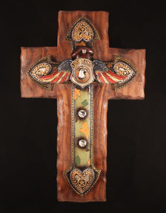 Army Cross with camouflage on a walnut background
