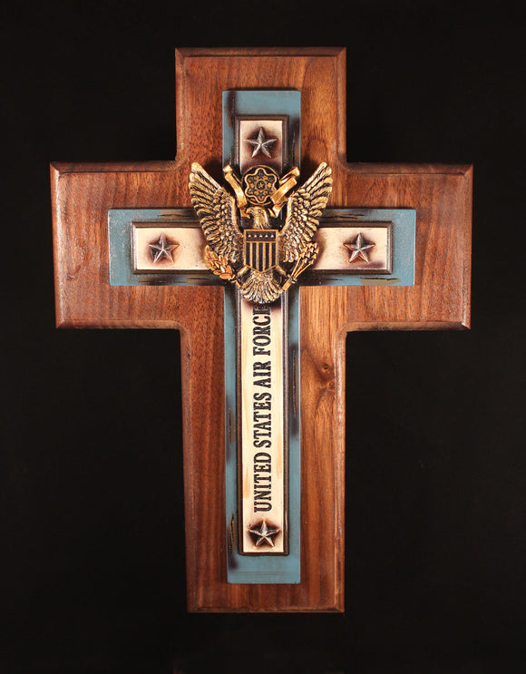 Air Force Cross - Blue and Gold  centerpiece, mounted on Walnut