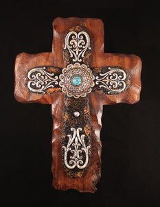 Exquisite Designed Silver and Brown Cross