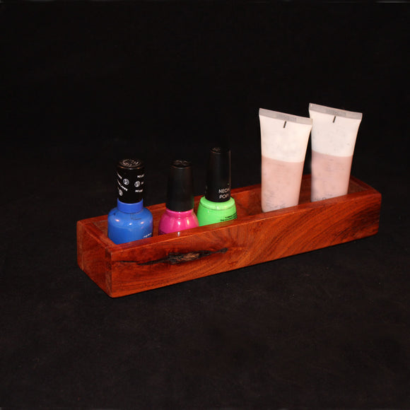 Handcrafted mesquite make up/polish holder for vanity
