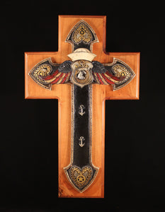 Navy Cross on Handcrafted Walnut background