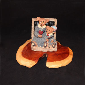 Teacher and Student Bear figurine is mounted on a handcrafted pedestal