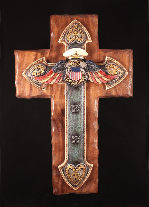 Coast Guard Cross on Handcrafted Walnut backgraound