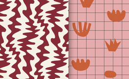 Red Squiggle/Pink Grid