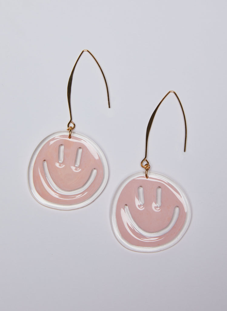 Silly Faces Earrings - Pink