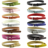 Faux Leather Belts Candy Color Thin Skinny Waistband Adjustable Belt