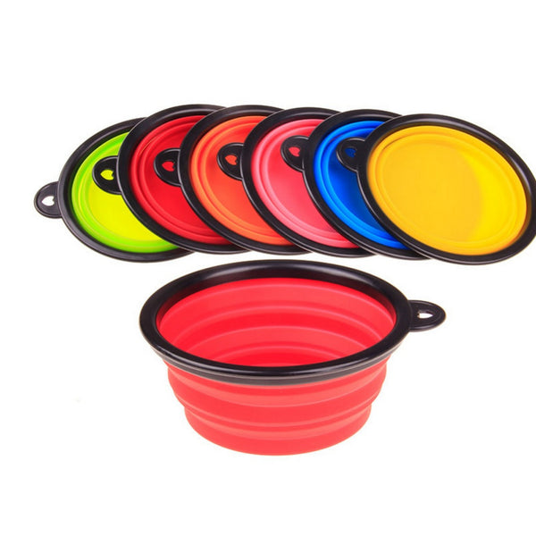 6Colors Silicone Bowl pet folding portable Dog Bowls for food the dog drinking water bowl pet bowls