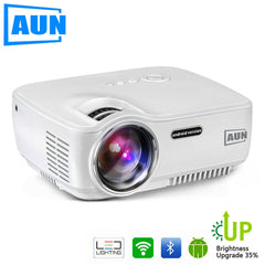 AUN Projector 1800 Lumens LED Projector Android 4.4 WIFI Bluetooth Support Miracast Airplay AC3 1080P