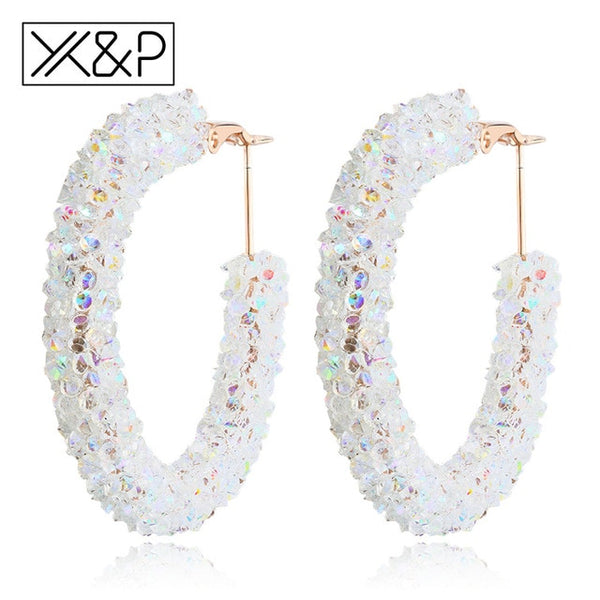 Shiny Rhinestone Gold Drop Earrings