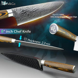 High Carbon Stainless Steel 8 inch Chef Knive Japanese 7CR17 440C Sanding Laser Pattern Vegetable Santoku Knife