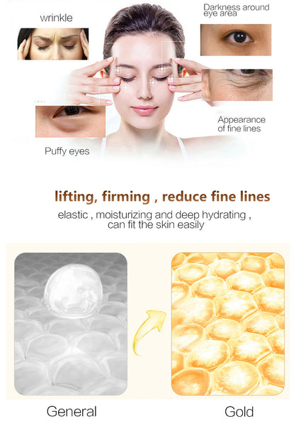 20pcs=10packs Gold Eye Mask Crystal Collagen Eye Mask Dark Circles Anti-Puffiness Cream Hyaluronic Acid Eye Patches Golden Masks