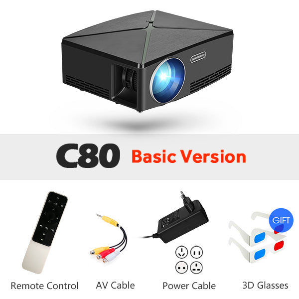 MINI Projector C80 UP, 1280x720 Resolution, Android WIFI Projector