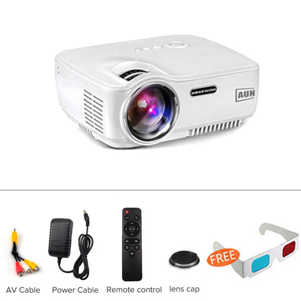 AUN Projector 1800 Lumens LED Projector Android 4.4 WIFI Bluetooth
