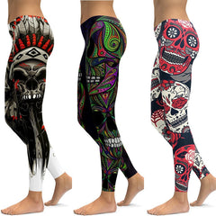 Skull printed Leggings for Yoga Sports Fitness Gym and Running