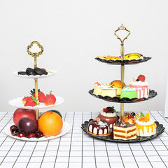 3-Tier Stand Three-layer Fruit Plate Cake Stand Dessert Vegetable Storage Rack