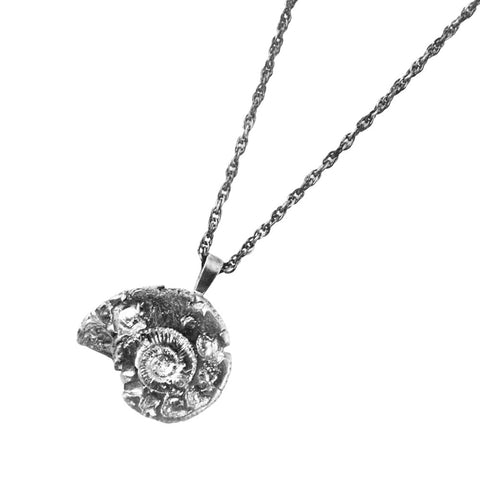 Silver Back Ammonite Necklace