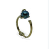 Gold Bone Black Pearl Pinky Ring