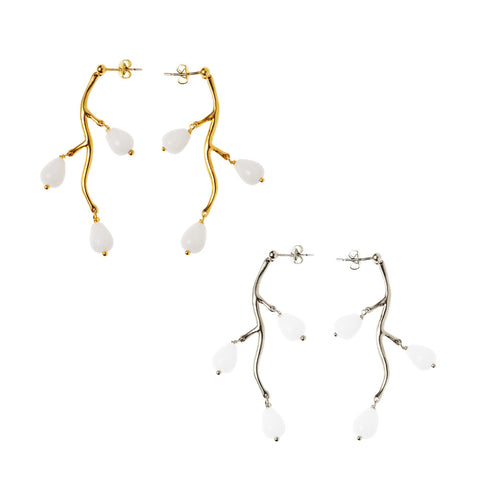 Branch Drop Earring with beads